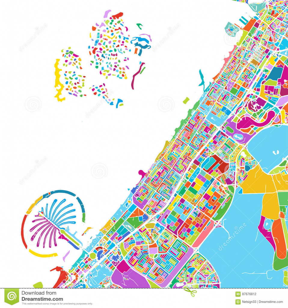 Dubai Colorful Vector Map Stock Vector. Illustration Of Pins - 87676812 for Printable Map With Pins