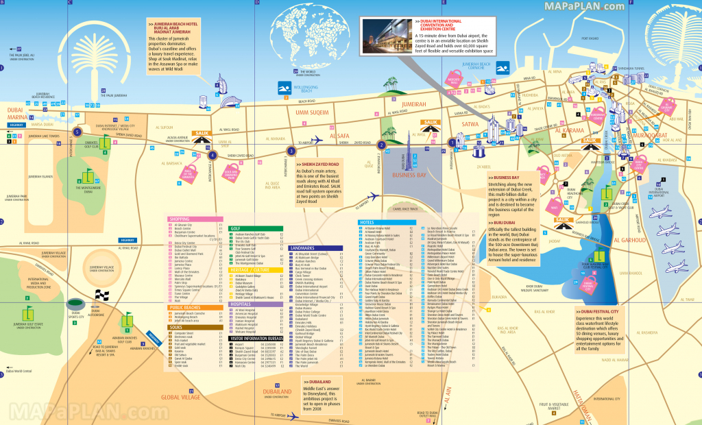 Dubai Maps - Top Tourist Attractions - Free, Printable City Street Map pertaining to Dubai Tourist Map Printable