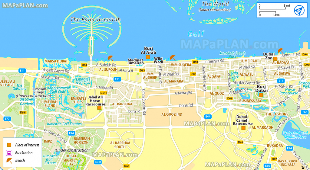 Dubai Maps - Top Tourist Attractions - Free, Printable City Street Map within Printable Map Of Dubai