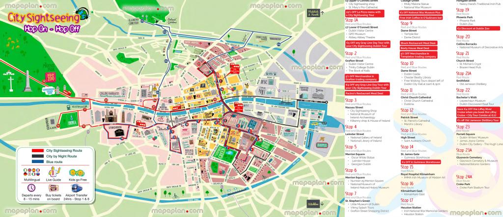 Dublin Map - Hop-On Hop-Off Bus Map Of Dublin City Sightseeing Tour for Dublin City Map Printable