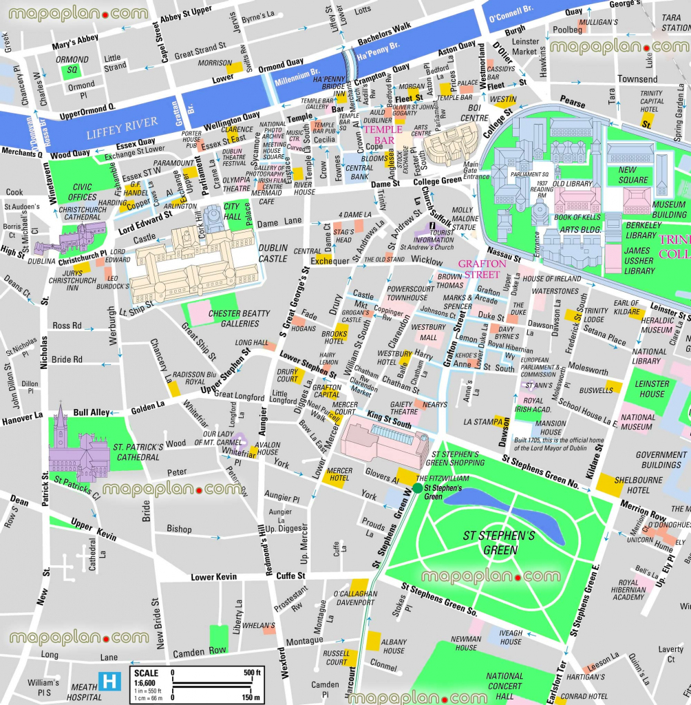 Dublin Maps - Top Tourist Attractions - Free, Printable City Street in Dublin City Map Printable