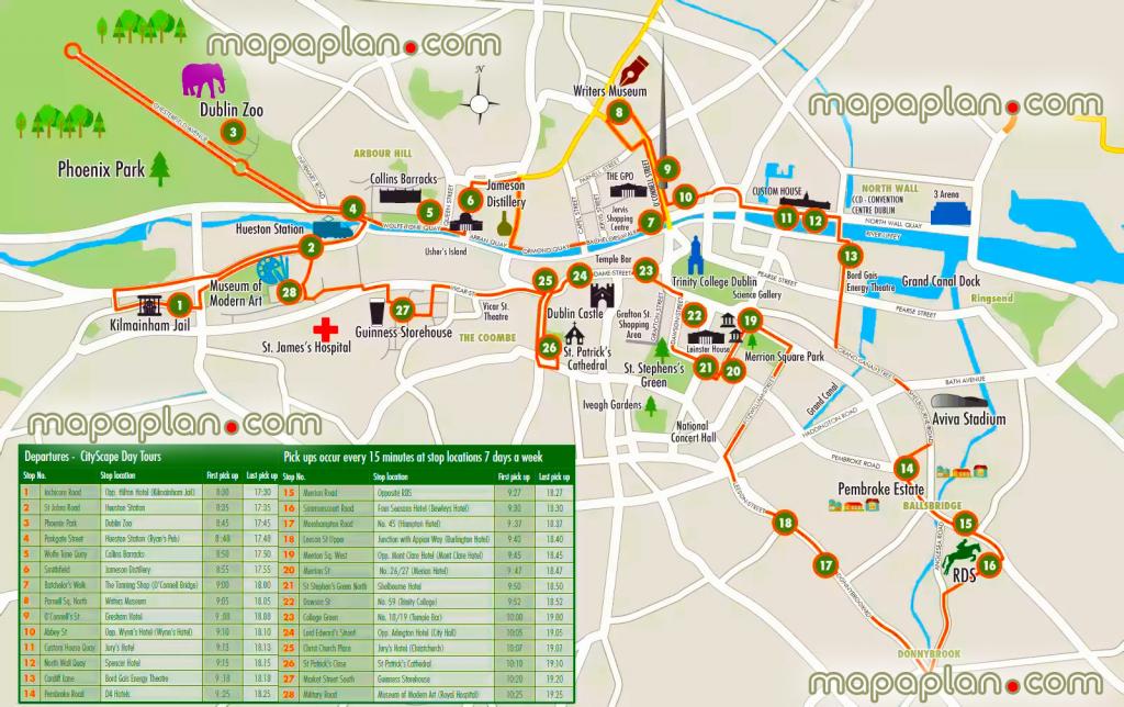 Dublin Maps - Top Tourist Attractions - Free, Printable City Street inside Dublin City Map Printable