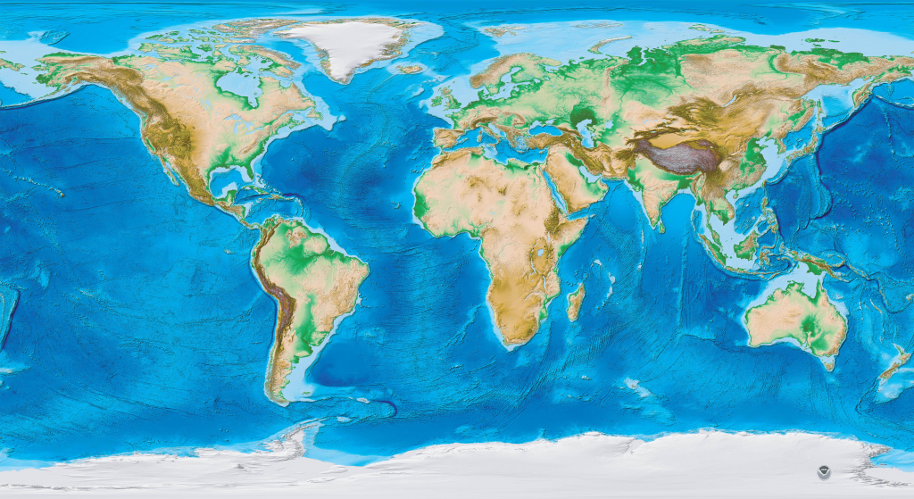 Earth's Topography And Bathymetry - No Labels pertaining to Topographic World Map Printable
