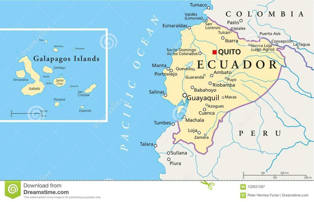 Ecuador And Galapagos Islands Political Map Stock Vector throughout Printable Map Of Galapagos Islands