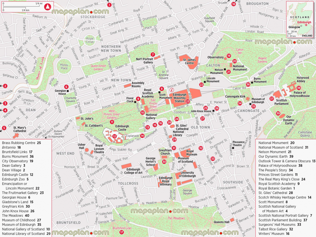 Edinburgh Maps - Top Tourist Attractions - Free, Printable City in Printable Town Maps