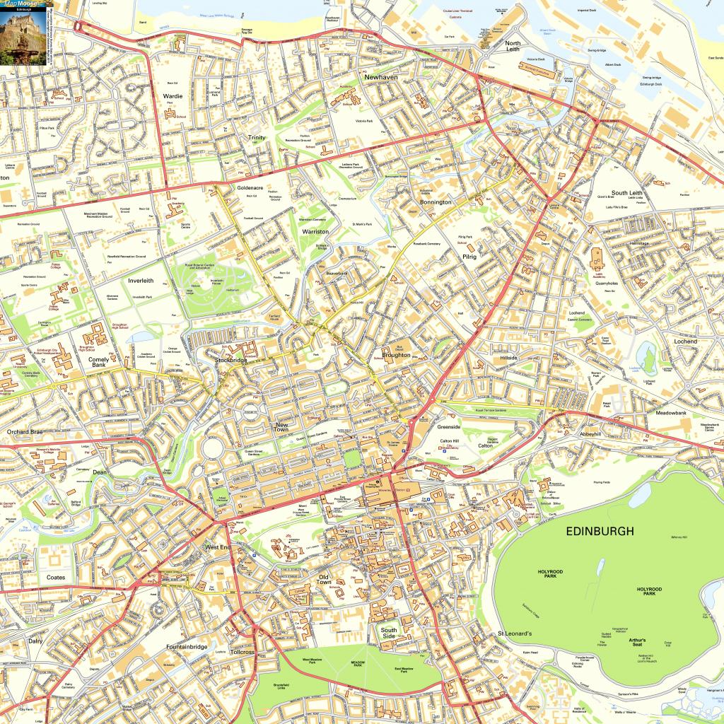 Edinburgh Offline Street Map, Including Edinburgh Castle, Royal Mile with Edinburgh City Map Printable