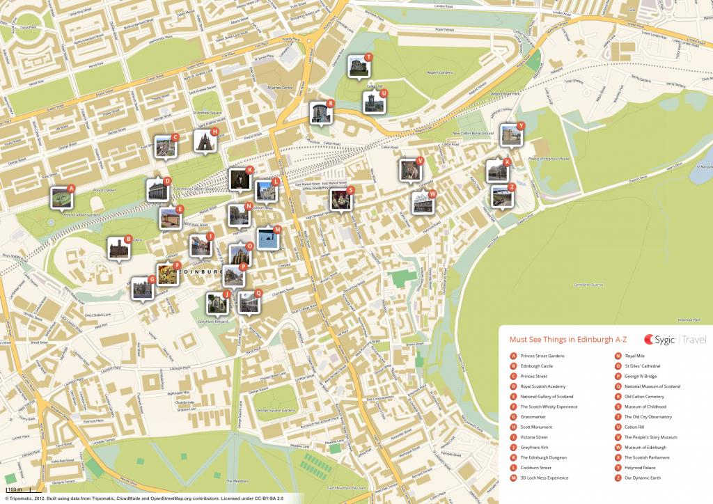Edinburgh Printable Tourist Map   Sygic Travel pertaining to Edinburgh City Map Printable