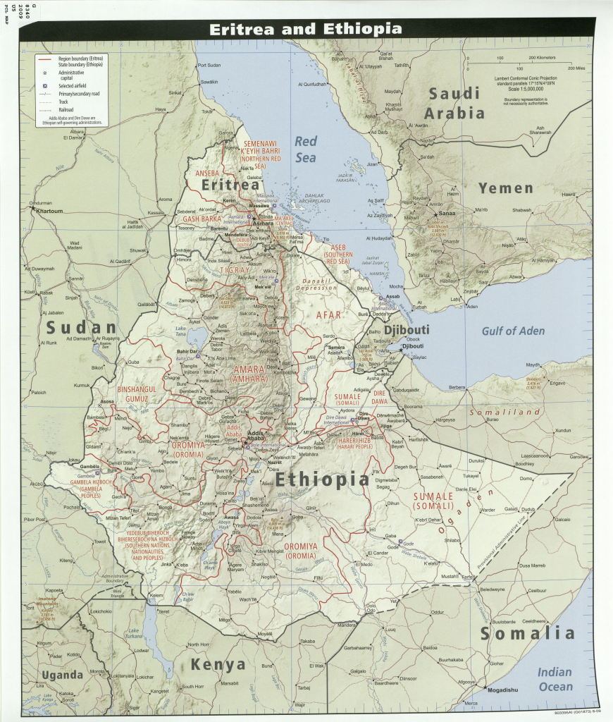 Ethiopia Maps - Perry-Castañeda Map Collection - Ut Library Online with Printable Map Of Ethiopia