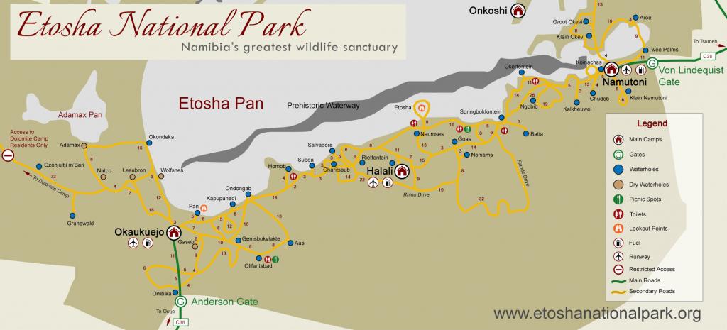 Etosha National Park Map & Distances regarding Printable Road Map Of Namibia