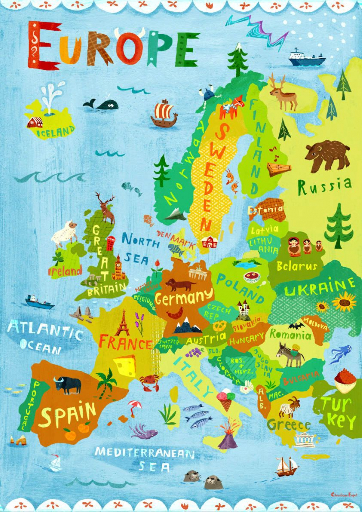 Europe Map Illustration / Digital Print Poster / Kids Room Wall Art for Europe Travel Map Printable