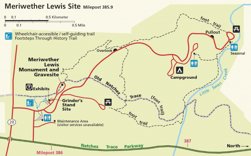 Exploring The Meriwether Lewis Site - Natchez Trace Parkway (U.s. within Lewis And Clark Trail Map Printable