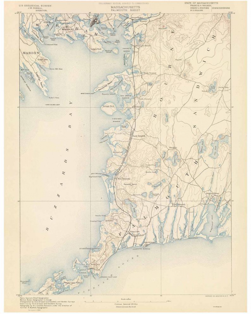 Falmouth 1890 Old Topo Map - Buzzards Bay - Edited Reprint Of The Original  Quad - 15X15 Usgs Topographic Massachusetts for Printable Map Of Falmouth Ma