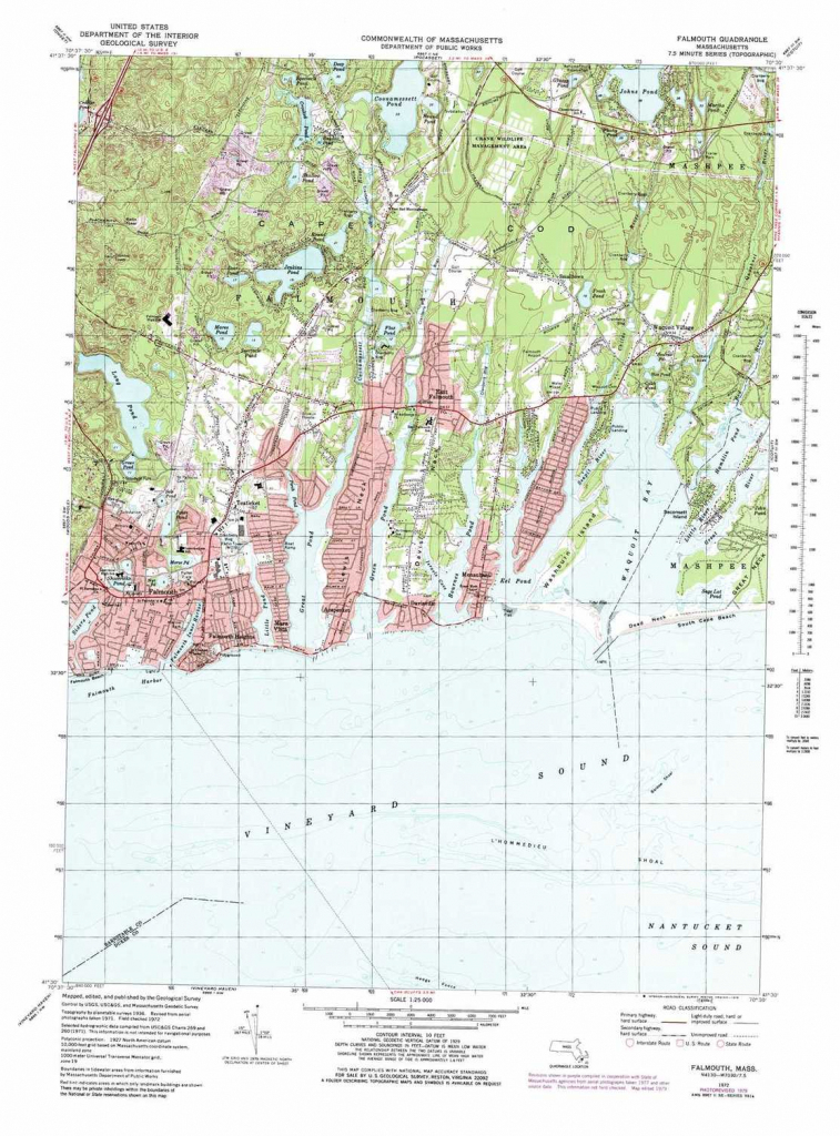Falmouth Topographic Map, Ma - Usgs Topo Quad 41070E5 with regard to Printable Map Of Falmouth Ma