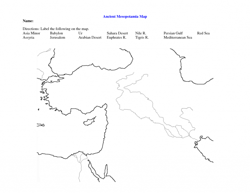 Fertile Crescent Map Worksheet - Google Search | World History 9 intended for Free Printable Map Of Mesopotamia