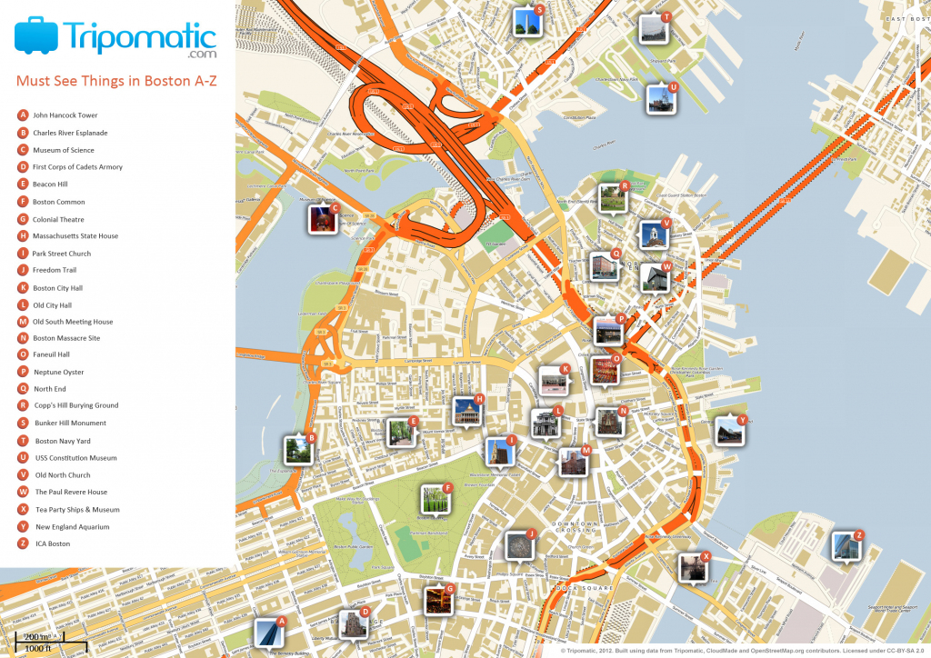 File:boston Printable Tourist Attractions Map - Wikimedia Commons with regard to Chicago Tourist Map Printable