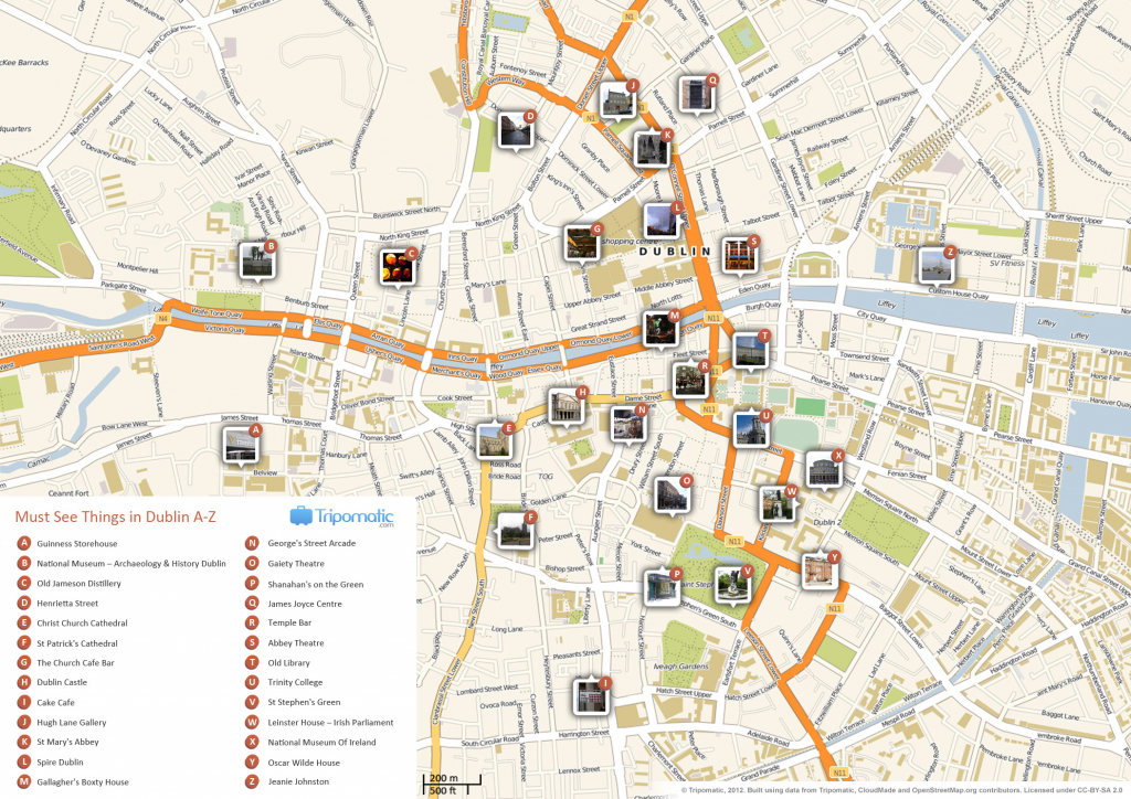 File:dublin Printable Tourist Attractions Map - Wikimedia Commons with regard to Dublin City Map Printable