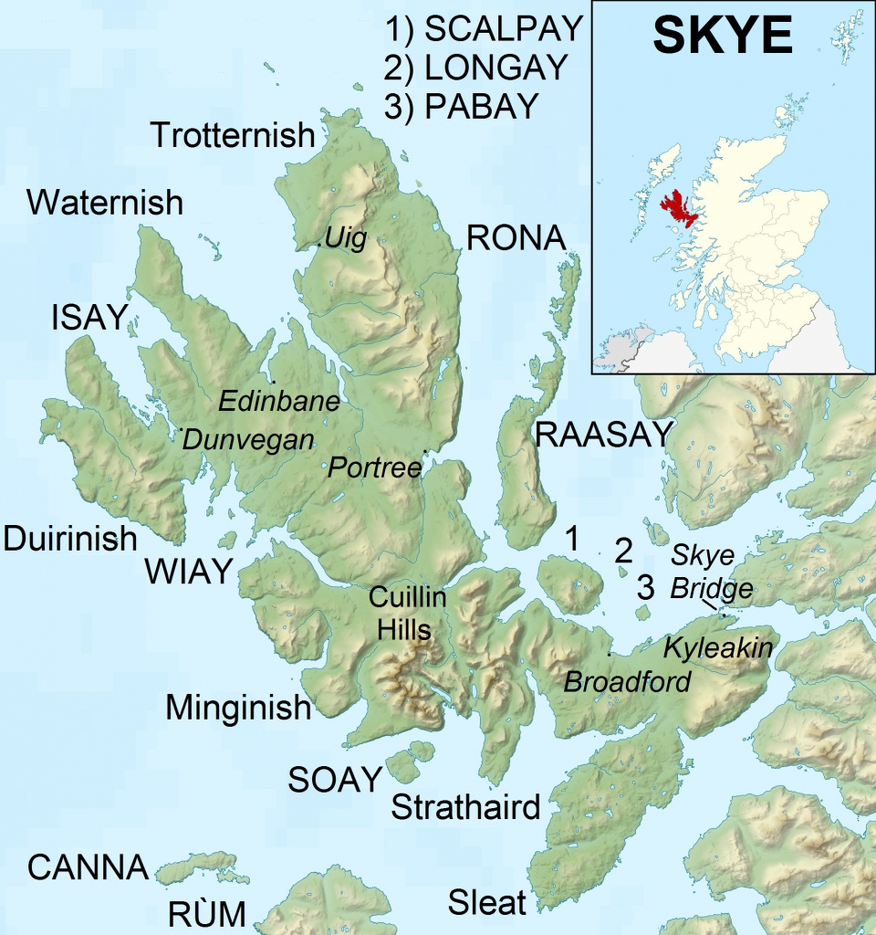 File:isle Of Skye Uk Relief Location Map Labels - Wikimedia Commons intended for Printable Map Skye