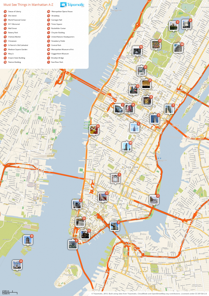File:new York Manhattan Printable Tourist Attractions Map with Printable Street Map Of Manhattan
