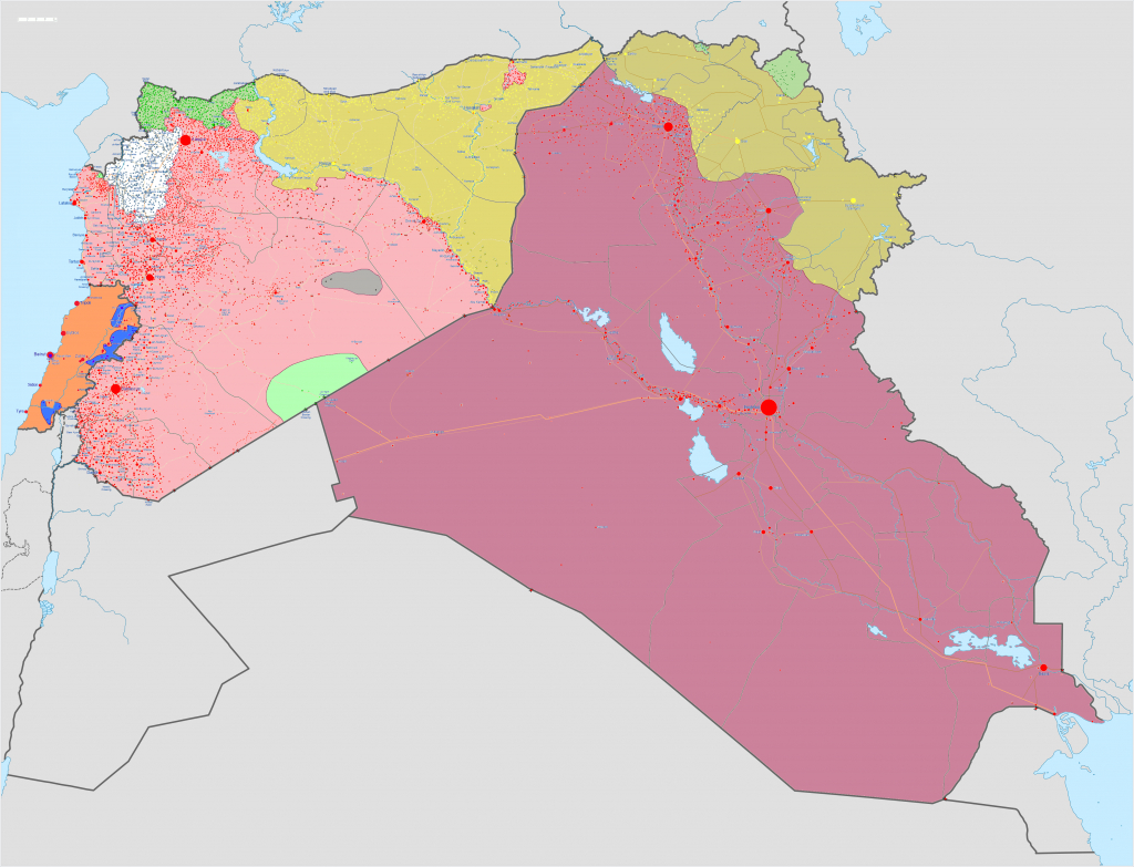 File:syrian, Iraqi, And Lebanese Insurgencies - Wikimedia Commons intended for Printable Map Of Iraq