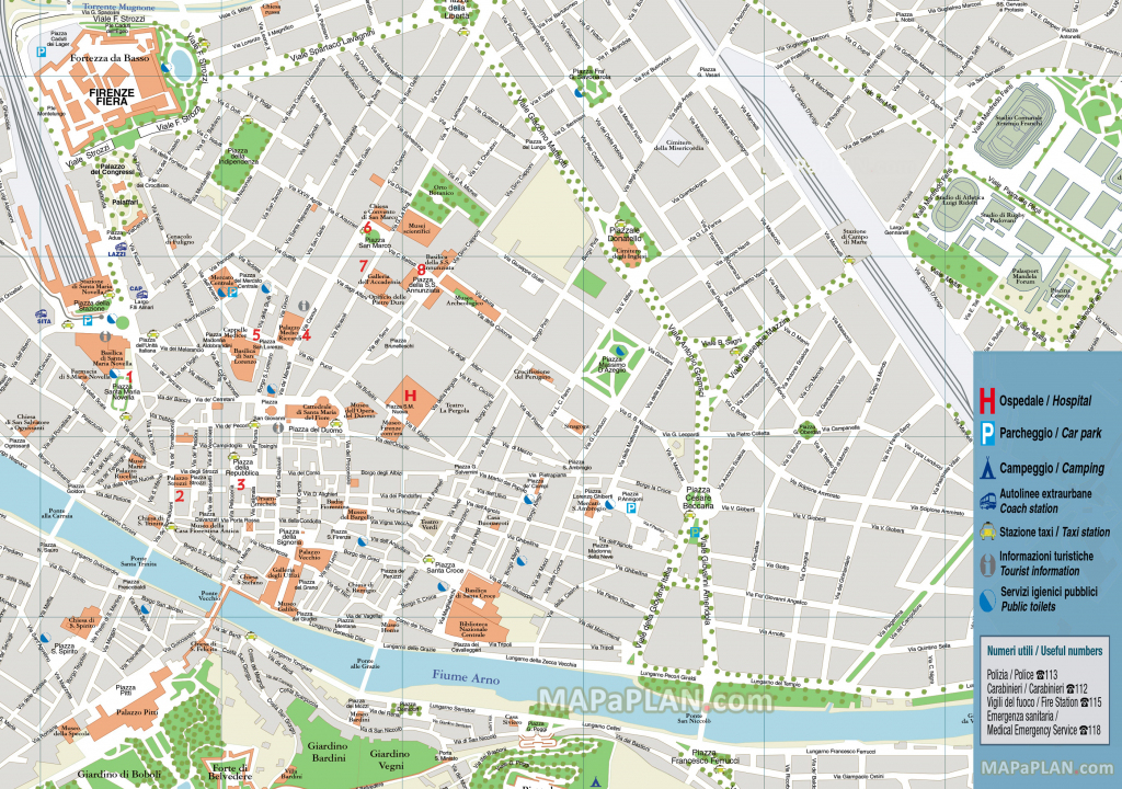 Florence Attractions Map Pdf - Free Printable Tourist Map Florence in Printable Walking Map Of Florence