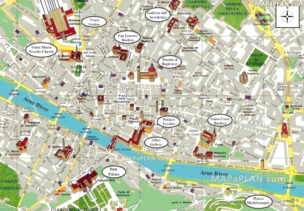 Florence Maps - Top Tourist Attractions - Free, Printable City throughout Florence City Map Printable