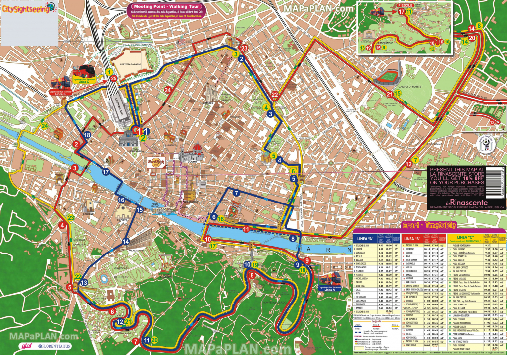 Florence Maps - Top Tourist Attractions - Free, Printable City throughout Florence Tourist Map Printable