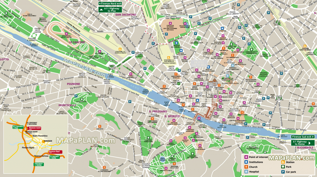 Florence Maps - Top Tourist Attractions - Free, Printable City with Printable Map Of Florence