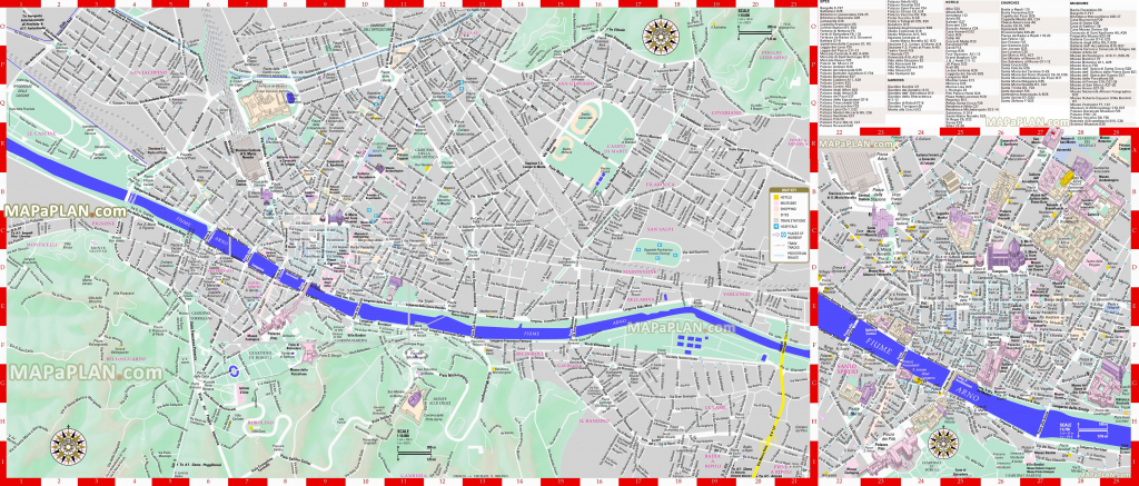 Florence Maps - Top Tourist Attractions - Free, Printable City with Printable Street Map Of Florence Italy