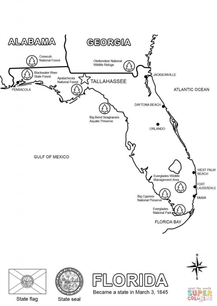 Florida Map Coloring Page   Free Printable Coloring Pages - Coloring throughout Free Printable Map Of Florida