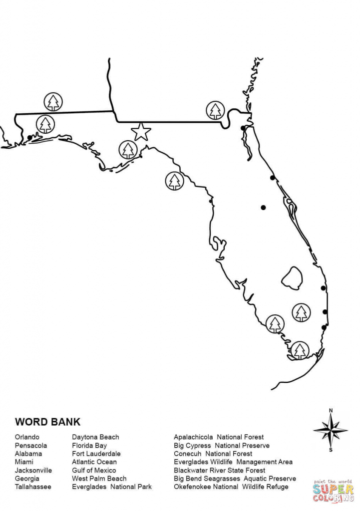 Florida Map Worksheet Coloring Page | Free Printable Coloring Pages for Florida Map Outline Printable