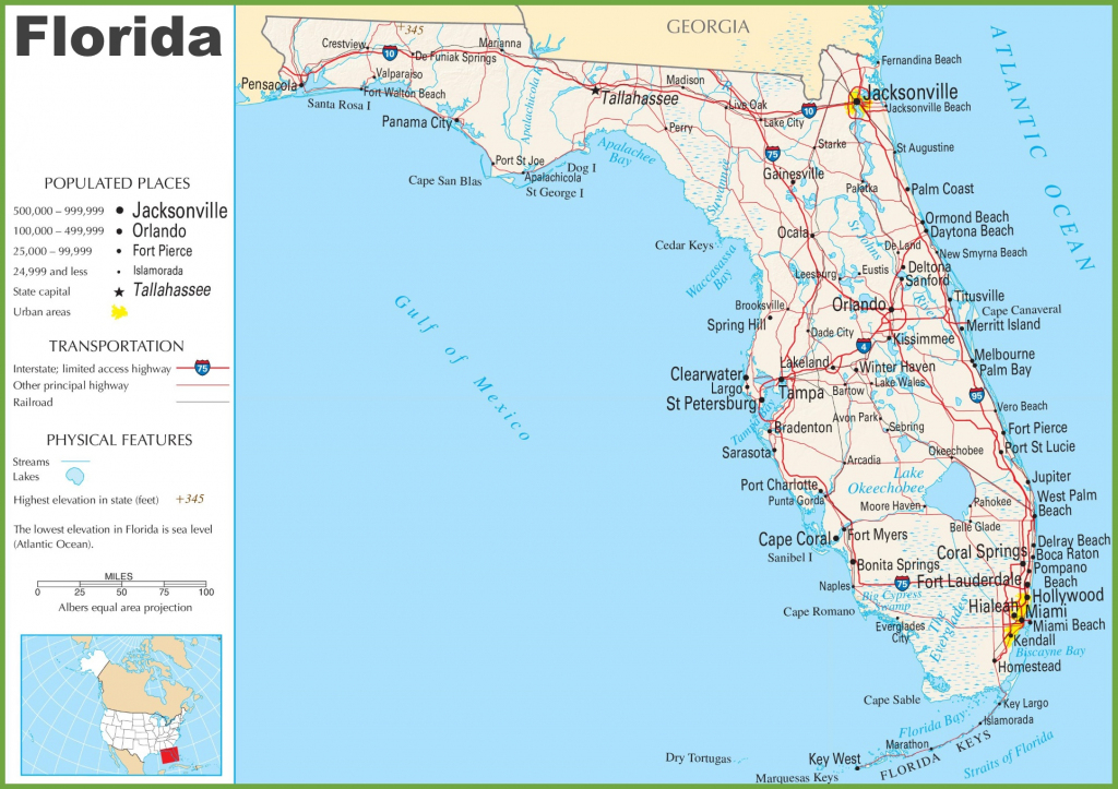 Florida State Map With Major Cities And Travel Information - New with regard to Florida State Map Printable