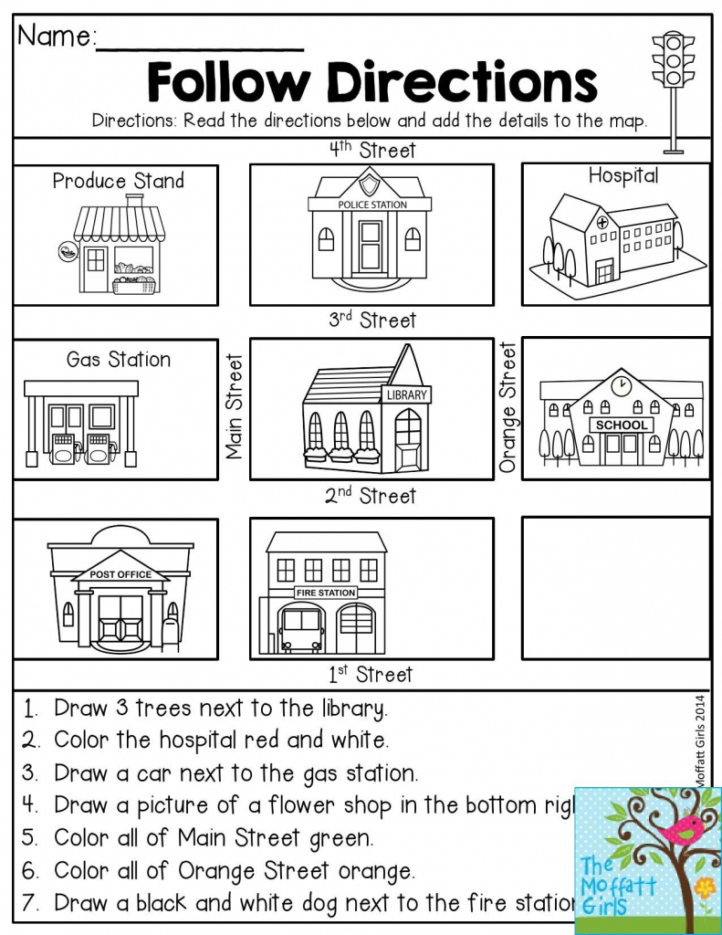 Follow Directions- Read The Directions And Add The Details To The within Me On The Map Printables