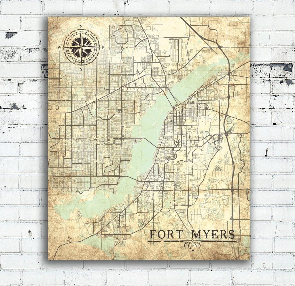 Fort Myers Fl Canvas Print Florida Vintage Map Fort Myers Vintage for Printable Map Of Ft Myers Fl