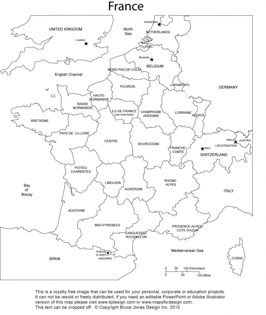 France Blank Printable Map With Provinces, Royalty Free, Clip Art for Map Of France Outline Printable