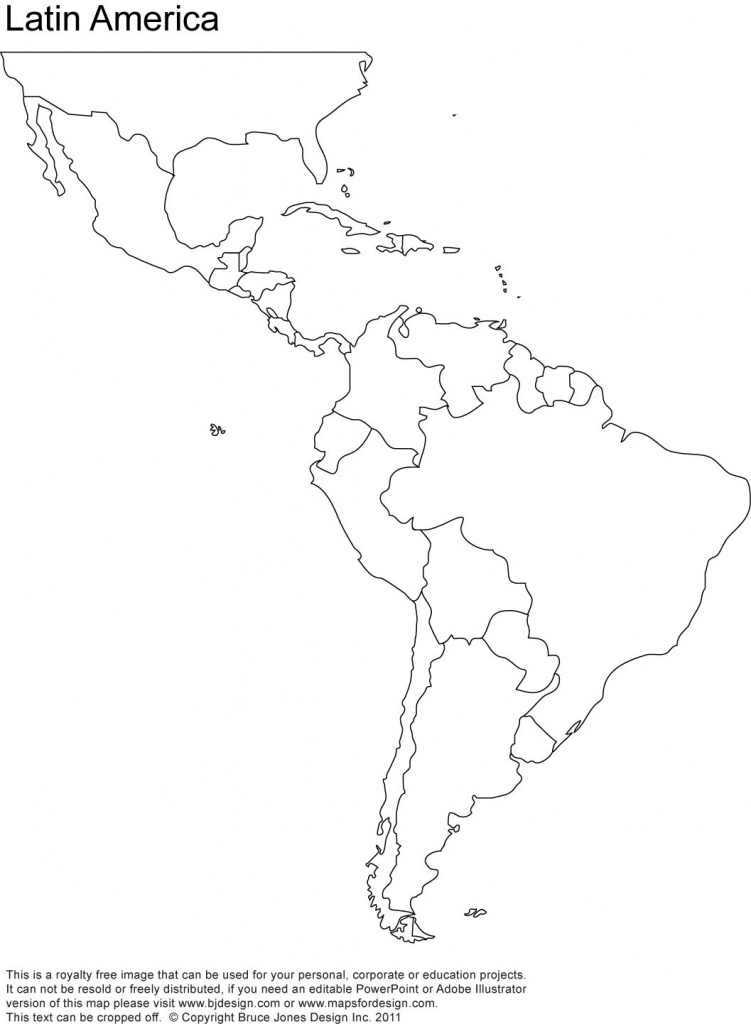 Free Blank Map Of North And South America | Latin America Printable within Printable Blank Map Of South America