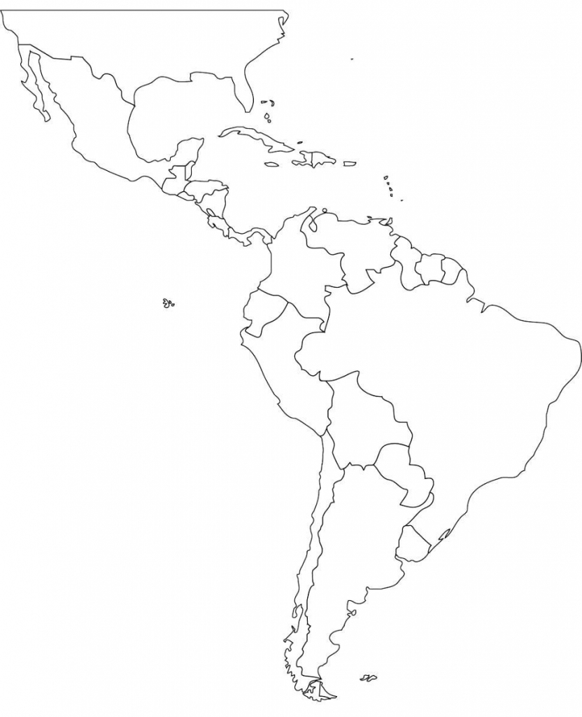 Free Blank Map Of North And South America Latin Printable In For 2 in Printable Map Of North And South America