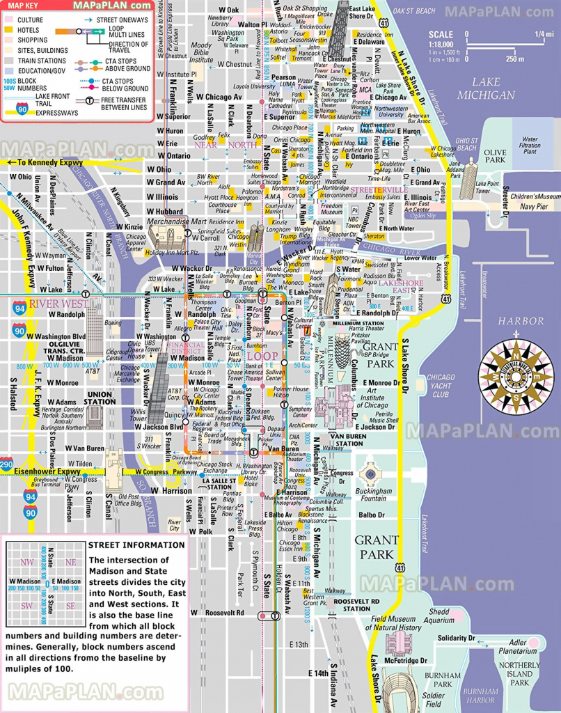 Free Inner City Magnificent Mile Shopping Malls Main Landmarks Great intended for Map Of Chicago Attractions Printable