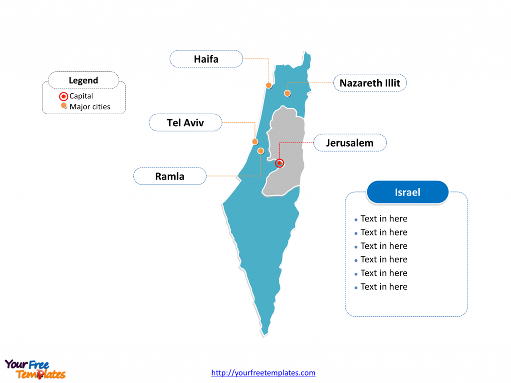 Free Israel Editable Map - Free Powerpoint Templates inside Free Printable Map Of Israel