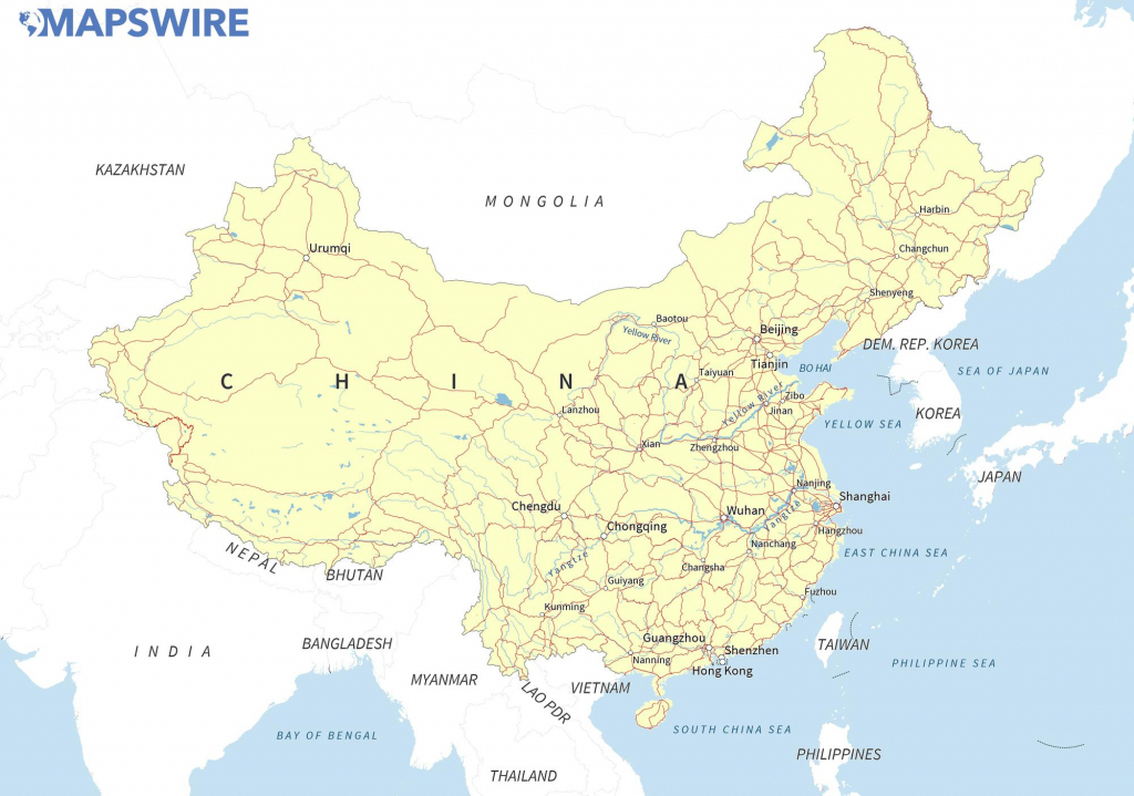 Free Maps Of China – Mapswire with Printable Map Of China