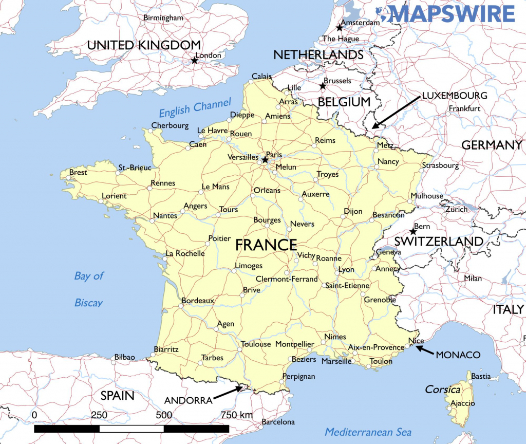 Free Maps Of France – Mapswire regarding Printable Map Of France With Cities