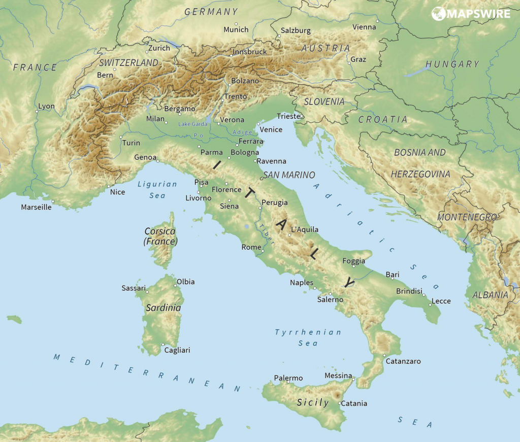 Free Maps Of Italy – Mapswire within Free Printable Map Of Italy