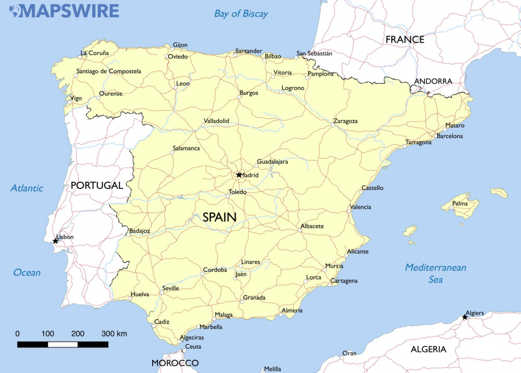 Free Maps Of Spain – Mapswire intended for Printable Map Of Spain