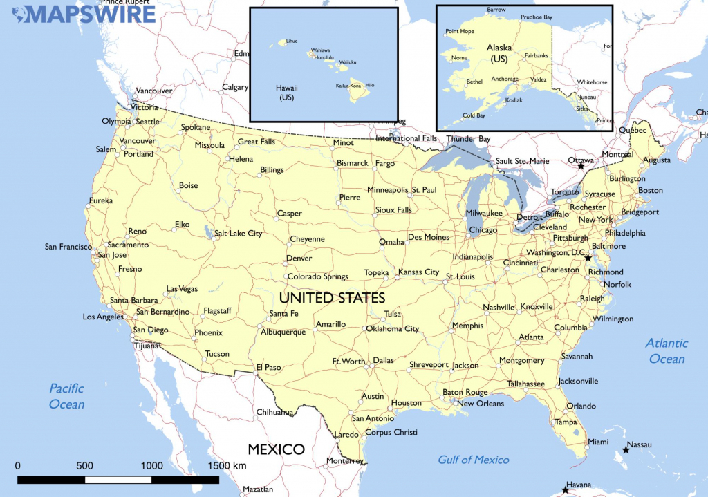 Free Maps Of The United States – Mapswire within Printable Map Of Usa With Cities And States