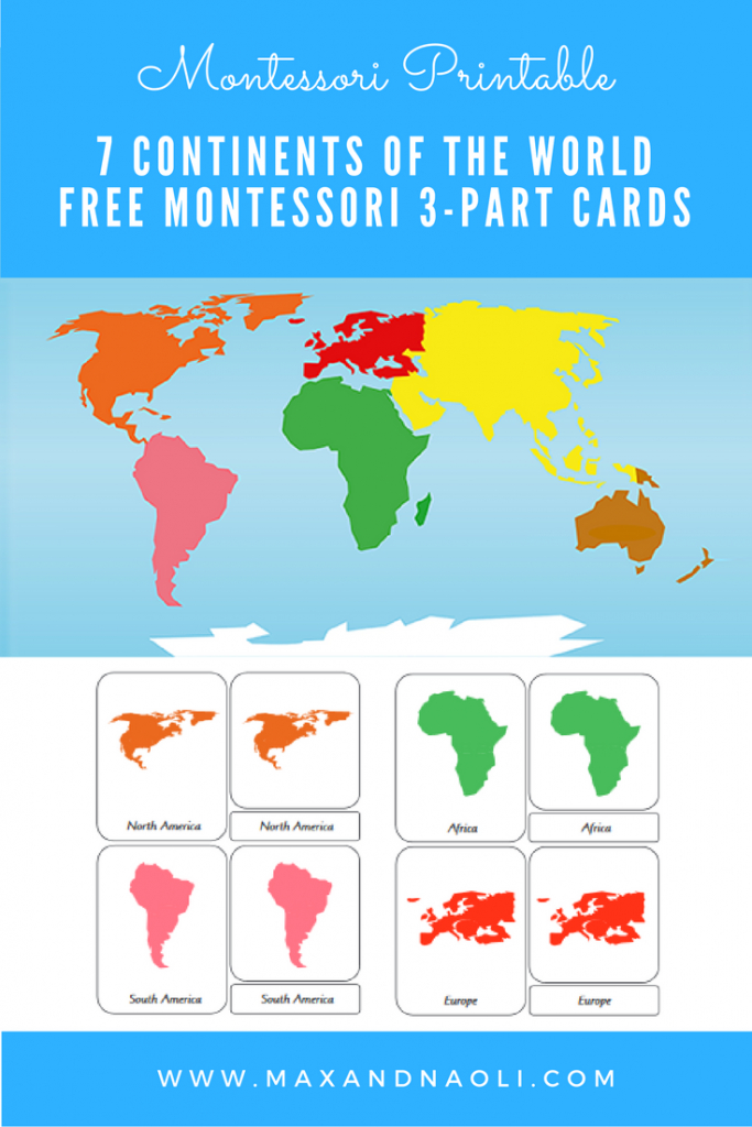 Free-Montessori-Printable-7-Continents-Of-The-World-3-Part in Montessori World Map Printable