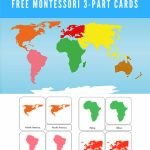 Free Montessori Printable 7 Continents Of The World 3 Part Within Montessori World Map Free Printable