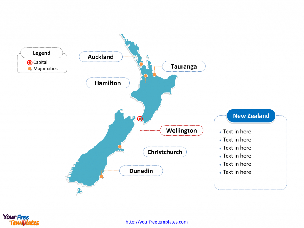 Free New Zealand Editable Map - Free Powerpoint Templates for Outline Map Of New Zealand Printable