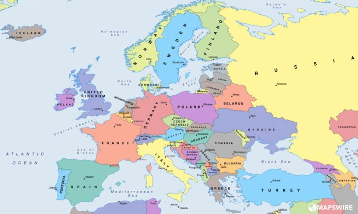 Printable Map Of Europe With Capitals
