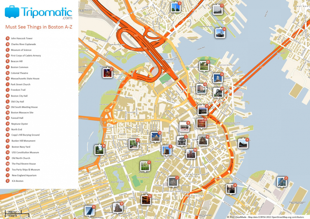 Free Printable Map Of Boston, Ma Attractions. | Free Tourist Maps for Freedom Trail Map Printable