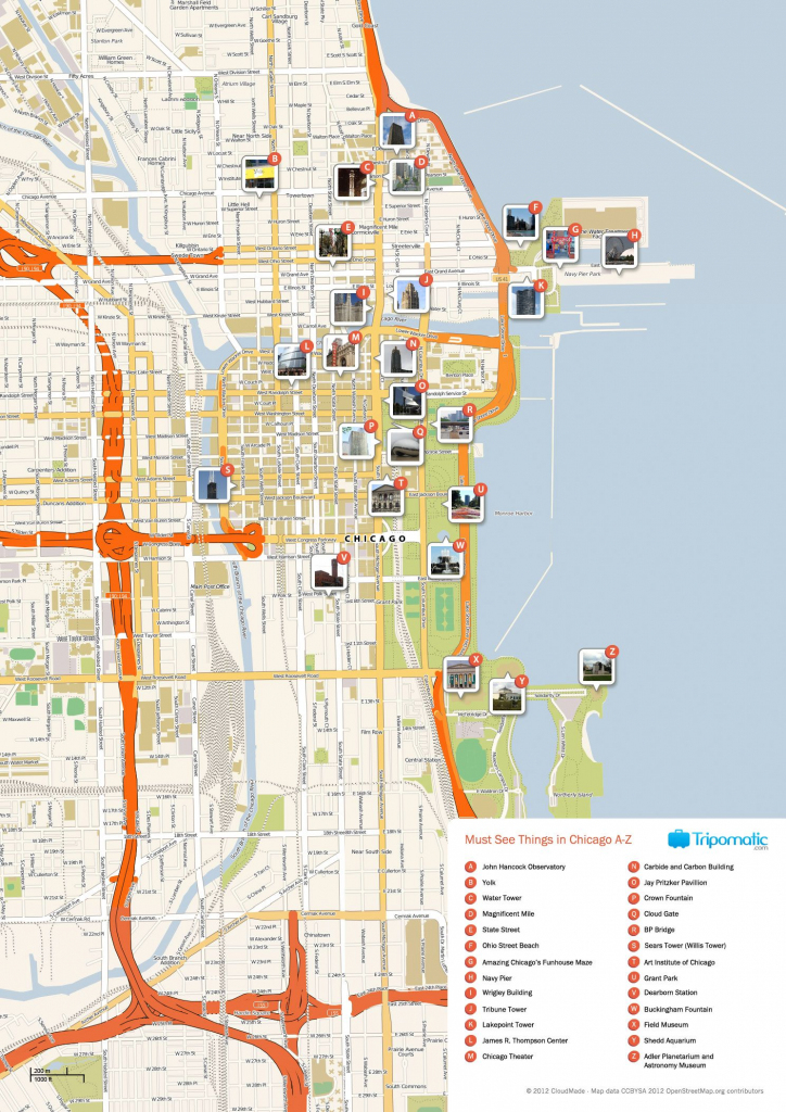 Free Printable Map Of Chicago Attractions. | Free Tourist Maps in Printable Map Of Chicago