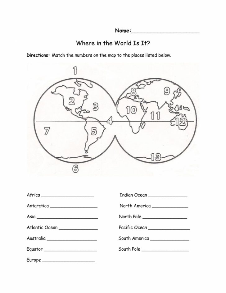 Map Of World Continents And Oceans Printable